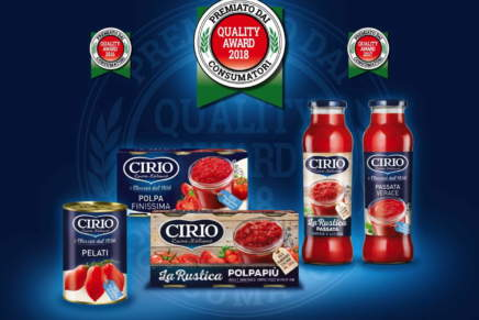 Cirio vince il premio Quality Award 2018 assegnato dai consumatori