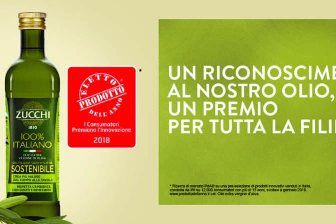"""L'Olio Zucchi è """"Prodotto dell'Anno 2018"""". Premiata anche la sostenibilità ambientale"""