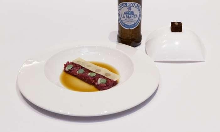 """Ricetta """"Pecora, birra, ostrica e mela"""" di Giuseppe Milana con Birra Moretti La Bianca"""